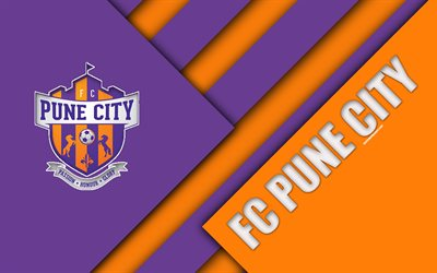 Pune City FC, 4k, logo, material design, orange violet abstraction, indian football club, emblem, ISL, Indian Super League, Pune, India, football