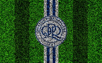 QPR FC, Queens Park Rangers, 4k, football lawn, logo, emblem, English football club, blue white lines, Football League Championship, grass texture, Hammersmith, UK, England, football