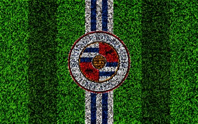 Reading FC, 4k, football lawn, logo, emblem, English football club, blue white lines, Football League Championship, grass texture, Reading, Berkshire, United Kingdom, England, football