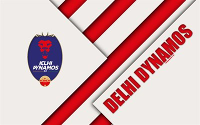 Delhi Dynamos FC, 4k, logo, material design, white red abstraction, indian football club, emblem, ISL, Indian Super League, Delhi, India, football
