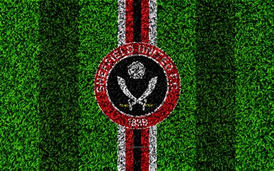 Sheffield United FC, 4k, football lawn, logo, emblem, English football club, red white lines, Football League Championship, grass texture, Sheffield, UK, England, football
