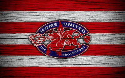 Home United FC, 4k, Singapore Premier League, soccer, Asia, football club, Singapore, Home United, wooden texture, FC Home United