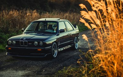 E30, BMW M3, offroad, tuning, stance, black M3, german cars, BMW