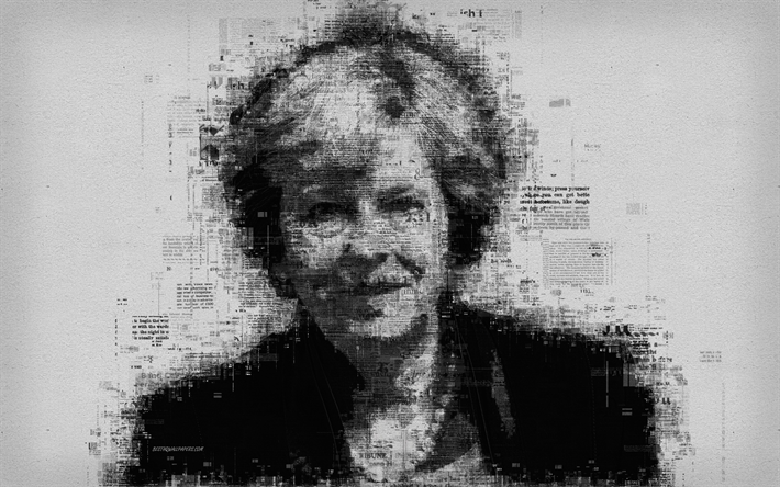 Theresa May, 4k, portrait, newspaper art, person, creative art portrait, prime minister of the United Kingdom, Great Britain, typography, poster