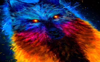 painted color wolf, art, paint, wolf, predator, poster, creative