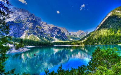 Lake Braies, HDR, mountain lake, South Tyrol, mountains, Italy, summer, mountain landscape, glacial lake, Alps, Lago di Braies, Pragser Wildsee