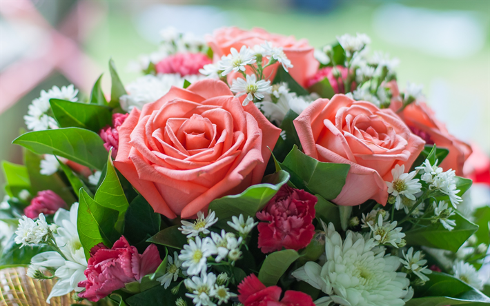 Download wallpapers pink roses, wedding bouquet, beautiful flowers ...