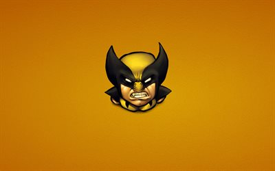 Wolverine, minimal, superheroes, Logan, yellow backgrounds, Marvel Comics, James Howlett, Wolverine minimalism, Angry Wolverine