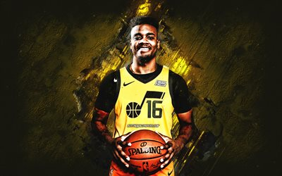 Juwan Morgan, Utah Jazz, NBA, American basketball player, yellow stone background, USA, basketball
