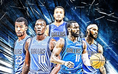 4k, Tim Hardaway, Dorian Finney-Smith, Jalen Brunson, Trey Burke, Willie Cauley-Stein, grunge art, Dallas Mavericks, basketball, NBA, Dallas Mavericks team, blue abstract rays, basketball stars
