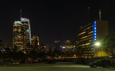 Los Angeles, skyscrapers, night, modern buildings, Los Angeles cityscape, California, USA