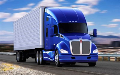 Kenworth T680, 2021, vista frontal, exterior, azul nuevo T680, American Cars1, American Cars, Kenworth