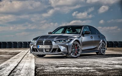 2022, BMW M3, G80, Competition M xDrive, 4k, front view, exterior, gray sedan, new gray M3 G80, German cars, BMW