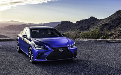 2022, Lexus ES, 4k, front view, blue sedan, new blue ES, business class, ES 250, Japanese cars, Lexus