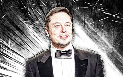 4k, Elon Musk, grunge art, american engineers, american celebrity, white abstract rays, Elon Reeve Musk, artwork, Elon Musk 4K