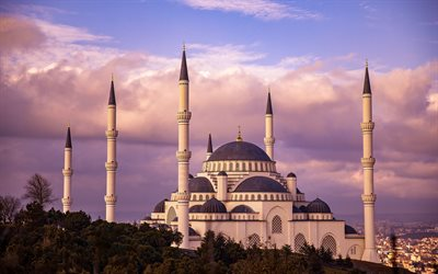 Camlica Mosque, Istanbul, evening, sunset, mosque, Istanbul cityscape, Turkey, The largest mosque in Turkey