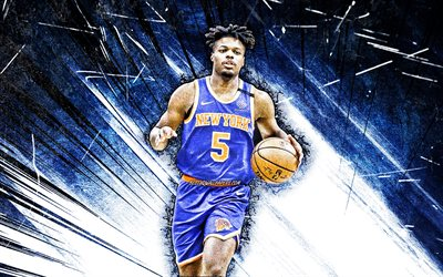 4k, Dennis Smith, grunge art, New York Knicks, NBA, basketball, Dennis Cliff Smith Jr, Dennis Smith New York Knicks, blue abstract rays, Dennis Smith 4K, NY Knicks