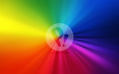Pop OS logo, 4k, vortex, Linux, rainbow backgrounds, creative, operating systems, artwork, Pop OS