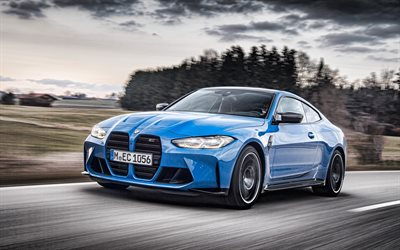 2022, BMW M4, G82, Competition M xDrive, 4k, front view, exterior, blue coupe, new blue M4 G82, German cars, BMW