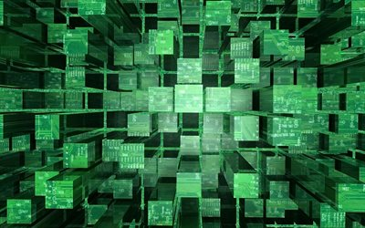 green 3d cubes background, creative green 3d cubes, digital 3d green background, 3d columns background, green cubes background, 3d cubes, 3d technology background