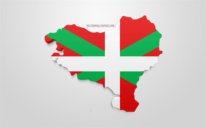 Lataa Kuva 3d Lippu Baskimaa Kartta Siluetti Baskimaa