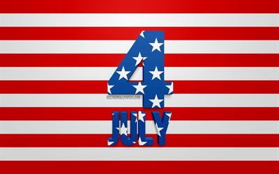 4 July, Independence Day, USA, United States, Declaration of Independence, creative 3d art, american style, US flag, July 4th greeting card