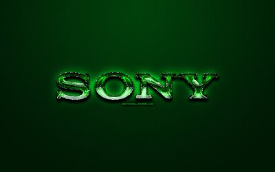 Sony green logo, green vintage background, artwork, Sony, brands, Sony glass logo, creative, Sony logo