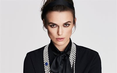 Keira Knightley, english actress, portrait, black dress, photoshoot, makeup, english star