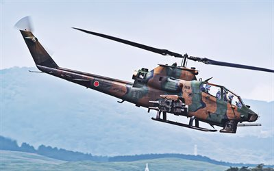 Bell AH-1 Cobra, attack helicopters, JGSDF, Fuji AH-1S Cobra, combat aircraft, Japanese Air Force, Japanese Army