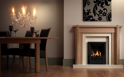 fireplace in the living room, living room project, modern interior design, wooden frame around the fireplace, classic style interior, living room