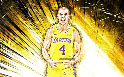 4k, Alex Caruso, grunge art, NBA, Los Angeles Lakers, basketball stars, Caruso, yellow abstract rays, basketball, LA Lakers, creative, Alex Caruso Lakers, Alex Caruso 4K