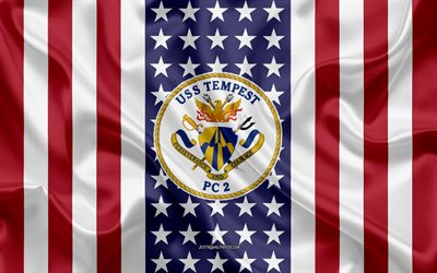 USS Tempest Emblem, PC-2, American Flag, US Navy, USA, USS Tempest Badge, US warship, Emblem of the USS Tempest