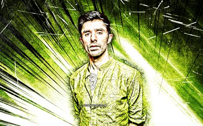 4k, KSHMR, grunge art, american DJs, music stars, Niles Hollowell-Dhar, american celebrity, fan art, green abstract rays, KSHMR 4K