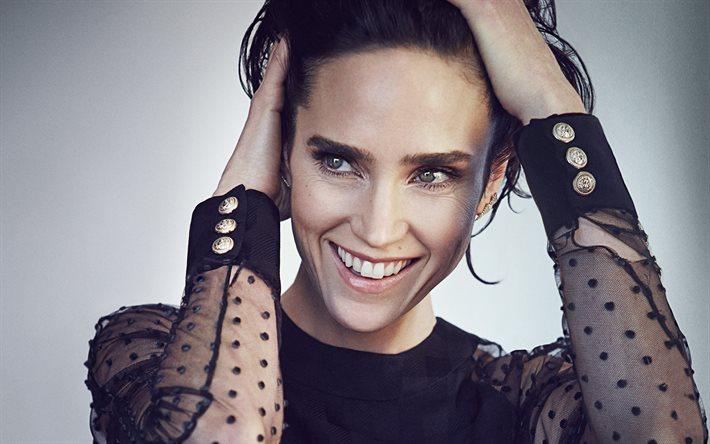 Jennifer Connelly, american actress, portrait, smile, photoshoot, black dress, popular actresses