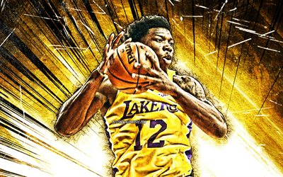 4k, Devontae Cacok, grunge art, NBA, Los Angeles Lakers, basketball stars, Devontae Calvin Cacok, yellow abstract rays, basketball, LA Lakers, creative, Devontae Cacok Lakers, Devontae Cacok 4K