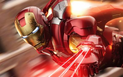 4k, IronMan, red neon rays, superheroes, battle, DC Comics, Iron Man, artwork, Ironman 4K