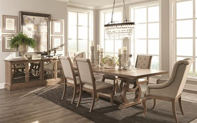 classic interior design, living room, large wooden dining table, stylish interior design, classic style dining room