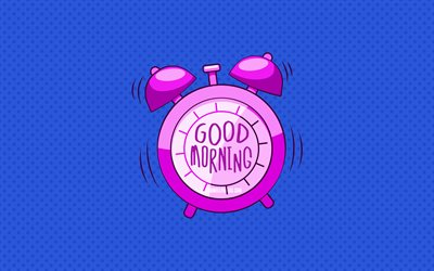 Good Morning, violet alarm clock, 4k, blue dotted backgrounds, good morning wish, creative, good morning concepts, minimalism, good morning with clock