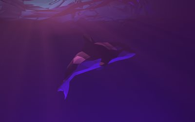 abstract killer whale, low poly art, underwater world, abstract fish, killer whale, low poly whale