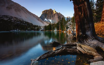 Big Pine Lakes, illalla, sunset, mountain lake, mountain maisema, Sierra Nevada, California, USA