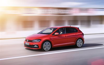 Volkswagen Polo GTI, 2018, New polo, red, hatchback, German cars, Volkswagen