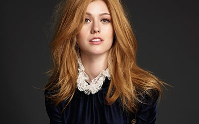 Katherine McNamara, American actress, portrait, red-haired woman