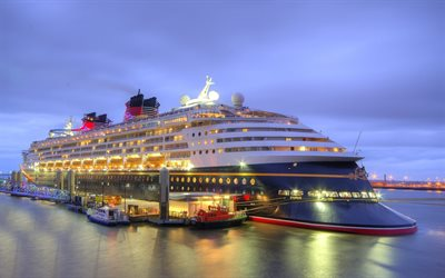 Disney Magic, cruise ship, pier, port, night