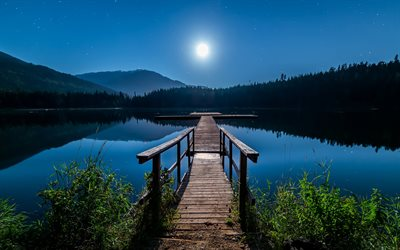 Canada, Lost Lake, night, pier, Whistler, British Columbia
