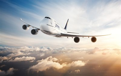 Boeing 747-400, passenger plane, sky, flight, airline, air travel, Lufthansa, Boeing