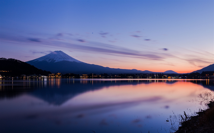 Download Wallpapers Lake Kawaguchi Mount Fuji 4k Sunset