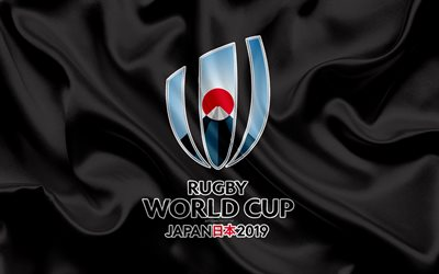 2019 Rugby World Cup, logo, 4k, silk texture, emblem, Japan 2019, gray silk flag, ninth world championship, rugby