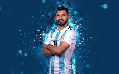 4k, Sergio Aguero, abstract art, Argentina National Team, fan art, Aguero, soccer, footballers, neon lights, Argentinean football team