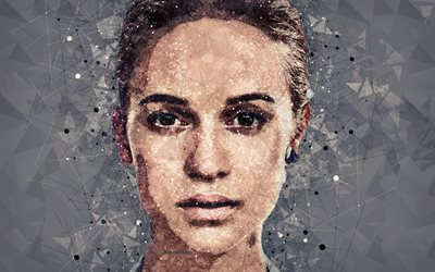 Alicia Vikander, art, 4k, portrait, creative geometric art, face, abstraction, Swedish actress, Hollywood star