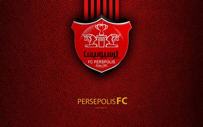Persepolis FC, 4k, logo, red leather texture, Iranian football club, emblem, red black lines, Persian Gulf Pro League, Tehran, Iran, football